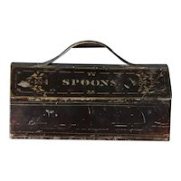 Antique Tole Painted Spoon & Fork Box Tray - Toleware Cutlery Caddy