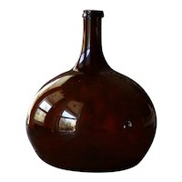 Antique French Amber Glass Demijohn Bottle - Carboy