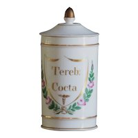 Antique French TEREB: COCTA Porcelain Apothecary Chemist Jar