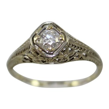 Antique 18K Gold Hand Pierced Filigree Ring with European Cut Diamond