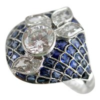 Platinum, Diamonds, and Sapphires Flower Ring