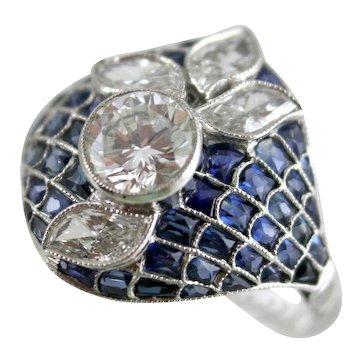 Platinum, Diamonds, and Sapphires Flower Ring