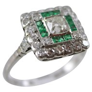 Vintage Platinum Diamond & Emerald Ring