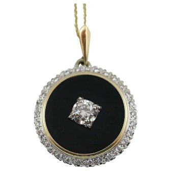 "14K Yellow Gold Round Black Onyx Diamond Pendant on a 16"" 14K Gold Chain"