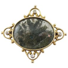 14K Yellow Gold Moss Agate & Euro Cut Diamonds Brooch Circa 1800's
