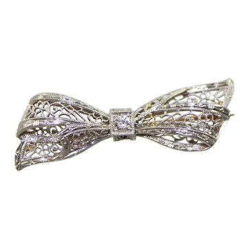 Vintage 14K white & Yellow Gold European Cut Diamond Bow Shaped Brooch/Pin