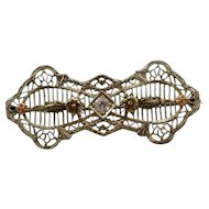 Vintage 10K Yellow Gold Filigree Diamond Pin