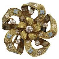Vintage 14K Yellow Gold Ribbon Pin w/Six European Cut Diamonds & Enamel Flowers