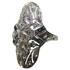 Platinum Art Deco White & Blue Sapphire Ladies Ring