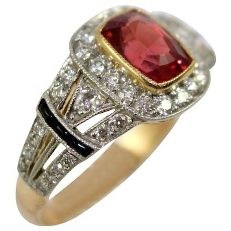 18K Yellow Gold & Platinum Ring: Cushion Cut Red Brown 1.31 Carat Spinel with 41 Diamonds 0.45 TCW