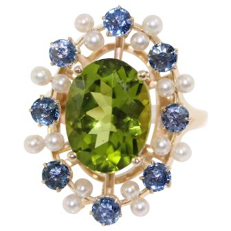 14K Yellow Gold Peridot Montana Sapphire & Seed Pearl Ladies Ring