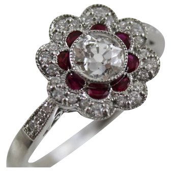 14K White Gold Diamond & Ruby Flower Ring