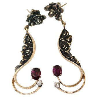 14K Yellow Gold Purple Red Garnet & Diamond Drop Post Earrings