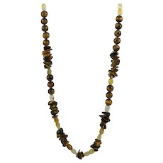 "Muse Artisan 26"" Tiger's Eye & Citrine Bead Necklace"
