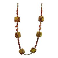 Muse Artisan Necklace: Jasper, Carnelian and Red Agate Beads 27""