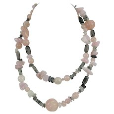 """Muse Artisan 32"""" Necklace Tourmaline & Rose Quartz and Marble Beads"""