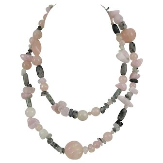 "Muse Artisan 32"" Necklace Tourmaline & Rose Quartz and Marble Beads"