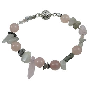 "Muse Artisan 7"" Bracelet Green Tourmaline & Rose Quartz w/Magnetic Clasp"