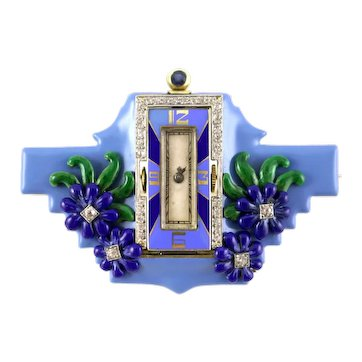 14K Yellow Gold Art Deco Enamel Pin/Watch/Clock Sapphire and Diamonds