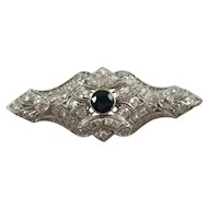 Vintage Platinum Brooch w/Center Sapphire & Forty-Six European Cut Diamonds