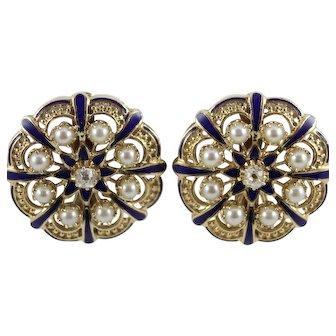 14K Yellow Gold Diamond Pearl & Blue Enamel Clip On Earrings