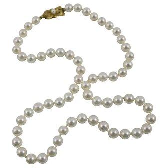 "Mikimoto Single Strand Cultured Pearl 18"" Necklace w/18K Gold Clasp"