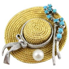 18K Yellow and White Gold Garden Hat Pin/Brooch: Cultured Pearl & Turquoise Cabochons