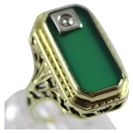 Vintage 14K Gold Emerald Cut Green Onyx & Diamond Ladies Ring