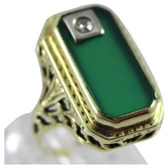 Vintage 14K Gold Emerald Cut Green Onyx & Diamond Ladies Ring