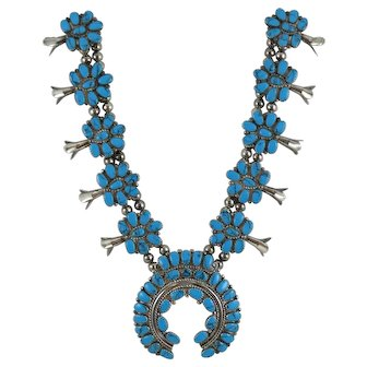 Zuni Sterling Silver Turquoise Squash Blossom Necklace