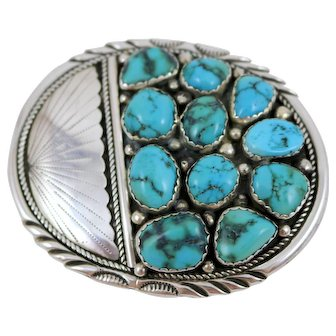 Old Pawn Sterling Silver Belt Buckle Turquoise Stones
