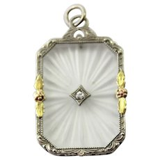 10K Gold Art Deco Carved Crystal European Cut Diamond Pendant
