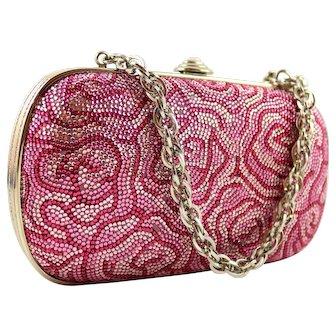 Judith Leiber Minaudière Box Clutch Pink Crystals Floral Print