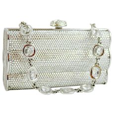 Judith Leiber Fluted Box Clutch Clear Crystal Minaudiere