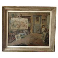 Karel Heymans 1899-1974 a Superb. Oil on Canvas  Painting of his workshop / atelier