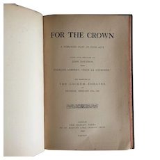 """""""For the Crown"""" a (Very Rare) 19th'C book of a Romantic play."""