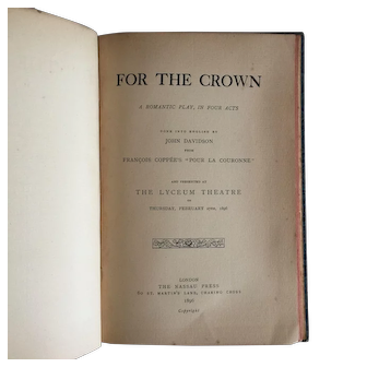 """Rare 19th'C book """" For the Crown """" a Romantic play."""