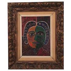 "Naïf portrait signed ""Guerra"""