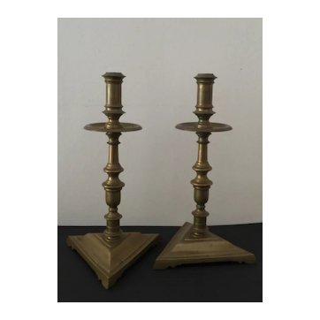 Pair of Bronze 17th'C Spanish Candlesticks