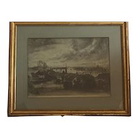 Istvan Elesdy well done etching of the city Budapest -Hungary