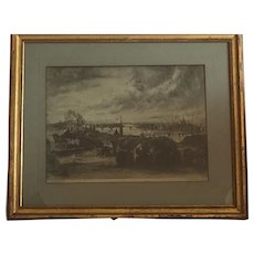 Etching from Budapest by Istvan Elesdy (Hungarian)