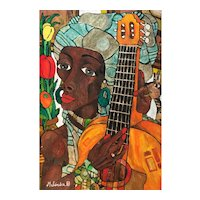 African woman with Guitar by Melendez