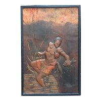 """Bas relief on copper """"African man catching Carp"""""""
