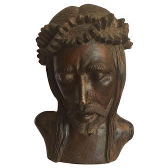Rare Hand carved wooden head depicting Christ