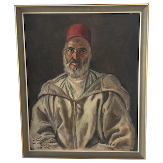 Well executed portrait of a Moroccan man wearing a Fez