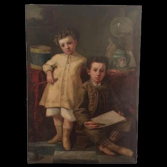19th century Spanish School Children painting