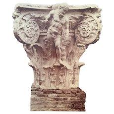 Fratelli Alinari Albumen photograph / Roma - Terme di Caracalla, un Capitello con figura de Ercole Farnese
