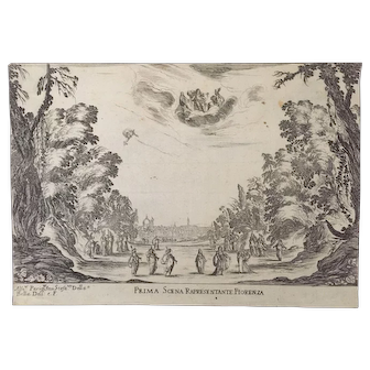 "Engraving ""Prima Scena Rapresentante Fiorenza""  / ""The Wedding of the Gods"""