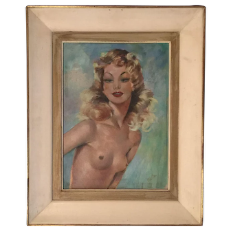 Portrait of a Half Nude Beautiful Woman around 1940