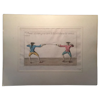 Fine Hand-Colored 18th'Century engraving of Fencing